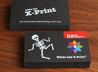 Recycled business cards australia brown kraft business cards white ink x print on black stock printingsolid white ink cmyk printing on thick black popset business card stock 100 black stock printed with white reheart Images